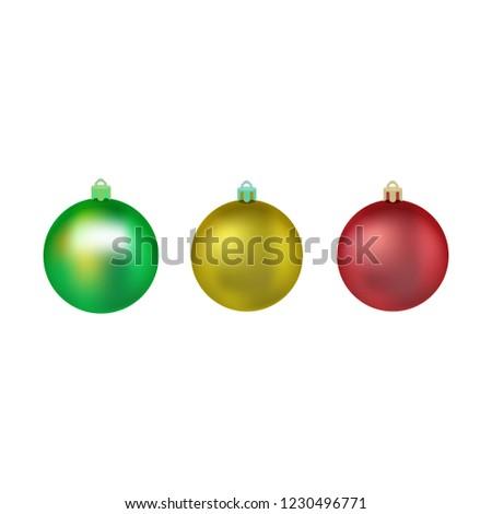 Colorful Christmas Tree Vector.Set Colorful Christmas Balls Balls Christmas Stock Vector
