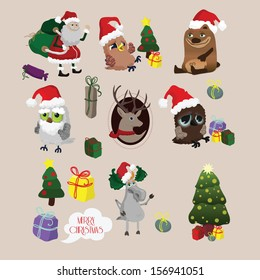 Set of colorful christmas characters and decorations