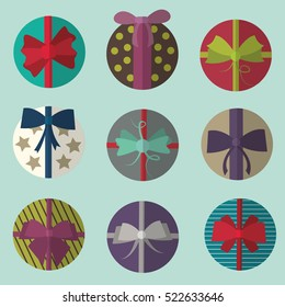 Set of colorful christmas gifts with ribbon. Flat vectors