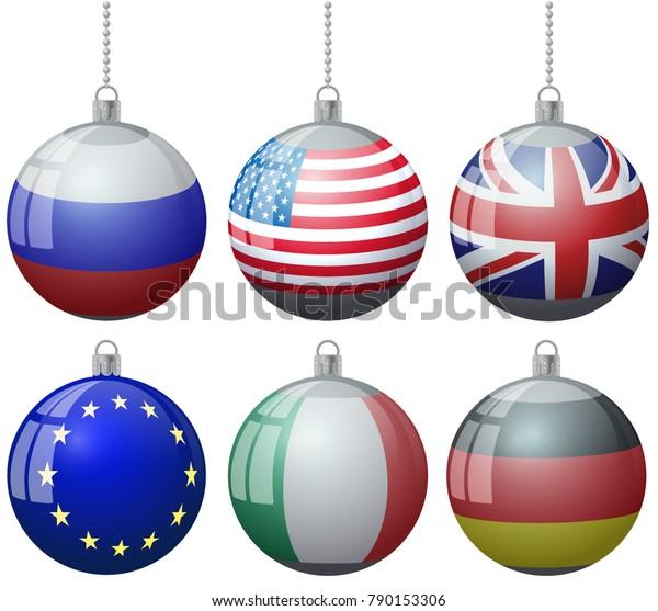 Colorful Christmas Tree Vector.Set Colorful Christmas Tree Vector Ornament Stock Vector