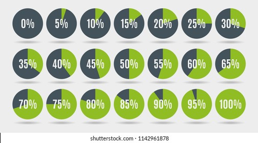Set of colorful circle percentage diagrams for infographics, 0 5 10 15 20 25 30 35 40 45 50 55 60 65 70 75 80 85 90 95 100 percent. Vector illustration.