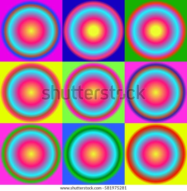 set of colorful circles