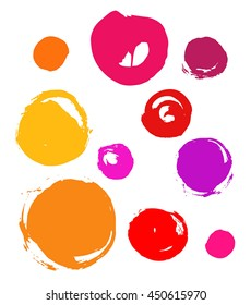 set of colorful circles, brush strokes, grunge.