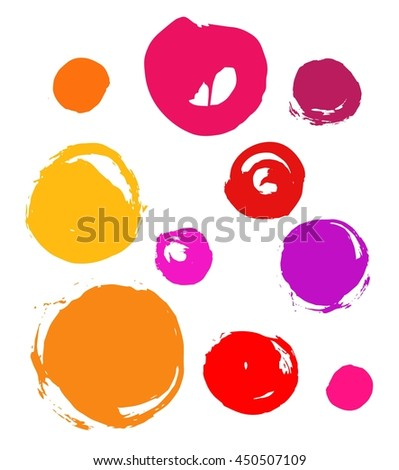 Set of colorful circles, grunge brush strokes. Collection of different circle shapes, smear, stain, splatter.