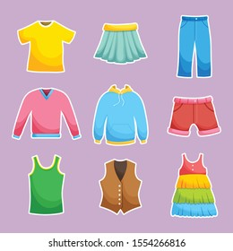 Set of colorful clothes isolated on background