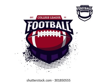 Set of colorful college american football logo labels with bonus black and white version. Vector abstract illustration.