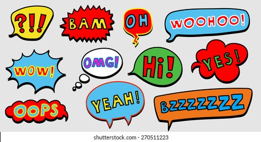 Set of colorful comic speech bubble with the text. Vector illustration.