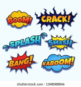 Set of colorful comic speech bubbles on white background.