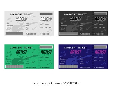 Set of Colorful Concert Tickets with Guitar and Musical Notes. Vector Illustration EPS8.