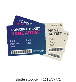 Set of Colorful Concert Tickets. Music, Dance, Live Concert tickets templates