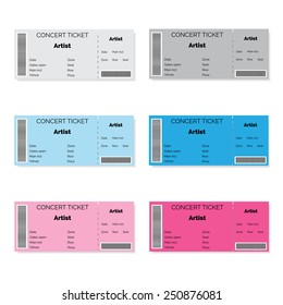 Set of colorful concert tickets. Vector illustration.
