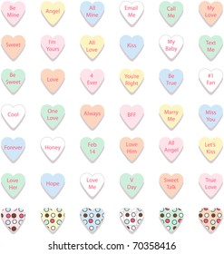 Set of Colorful Conversation Hearts