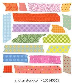 SET OF COLORFUL CRAFT TAPE WITH VARIANT PATTERNS. Editable vector  illustration file.