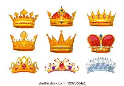 Set of colorful crowns in cartoon style. Royal crowns from gold for king, queen and princess.Crown awards collection for winners in game. Royal crown vector set isolated on white background