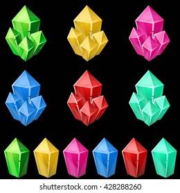 Set of colorful crystals. 2d gem asset for games collection. Vector illustration.