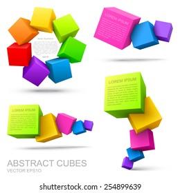 Set of colorful cubes 3D.