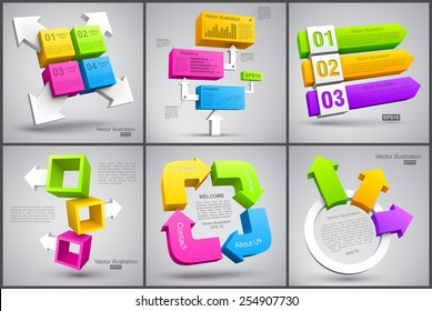 Set of colorful cubes with arrows 3D.