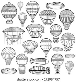 Set of colorful cute balloon, aerostat. Line illustration