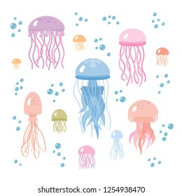 Set of colorful cute cartoon jellyfishes