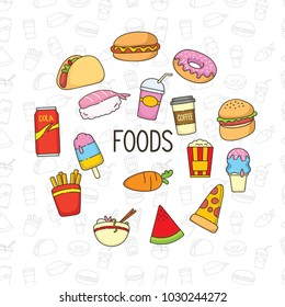 Set of colorful cute doodle food.