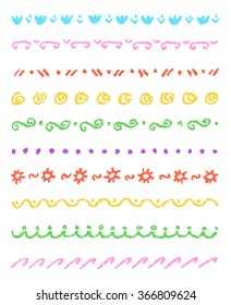 Set of colorful cute ornament stripes. Wax crayon chalk hand drawn patterned background. Group of fun hand drawing vector pattern. Pastel chalk child's hand drawn design elements.