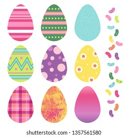 Set of colorful decorated Easter egg and jelly bean vector graphics