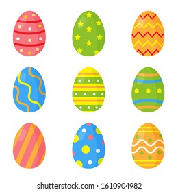 Set of colorful decorated Easter eggs.