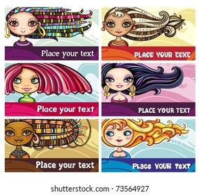 Set of colorful decorative business cards featuring attractive girls with stylish hair styles. Space for your information.