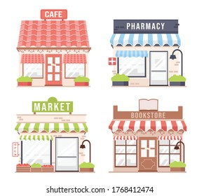 Set of colorful detailed cartoon city shops and stores building. Cafe, Pharmacy, Market, Bookstore. Modern, cute flat vector illustration, stores facades isolated on white background.