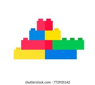 Set of colorful different bright plastic building blocks. Vector Illustration.