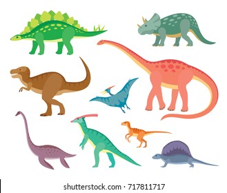 Set of colorful dinosaurs.