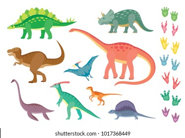 Set of colorful dinosaurs and footprints, isolated on wite background. Vector illustration.