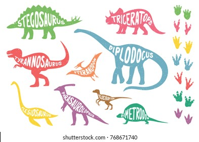 Set of colorful dinosaurs with lettering and footprints, isolated on wite background. Vector illustration.