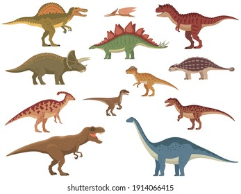 Set of colorful dinosaurs. Vector illustration group of color cartoon dinosaurs isolated on a white background. Flat style.