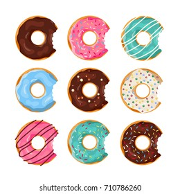 Set of colorful Donuts with a mouth bite isolated on white background. Top View Doughnuts collection into glaze for menu design, cafe decoration, delivery box. vector illustration in flat style