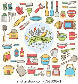 Set of colorful doodle kitchen and utensil isolated over white background