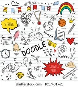 Set of colorful doodle on paper background.Doodles boxing elements. vector  Illustration