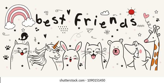 Set of colorful doodle on paper background.Doodles best friends elements.