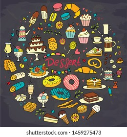 Set of colorful doodle sweets food on chalkboard. Vector illustration. Cakes, biscuits, baking, cookie, donut, ice cream, macaroons, coffee. Perfect for dessert menu or design. Round composition