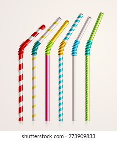 Set colorful drinking straws, eps 10