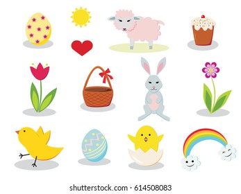 Set of colorful Easter elements
