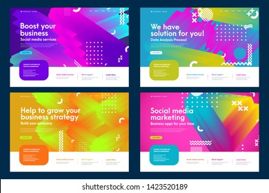 Set of colorful effective abstract website templates. Modern flat trendy design vector illustration concepts of web page design for internet and mobile website development. Easy to edit and customize