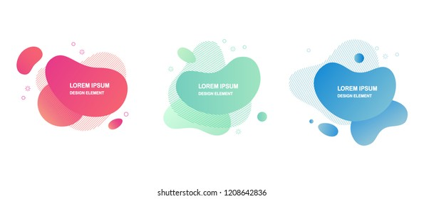 Set of colorful elements, gradient abstract shape for banner. Fluid geometric frame. Vector flat design for business cards, invitations, gift cards, flyers, brochures