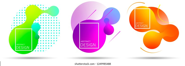 Set of colorful elements, gradient abstract shape for banner. Fluid geometric frame. Vector flat design for business cards, invitations, gift cards, flyers, brochures. Vector illustration EPS10.