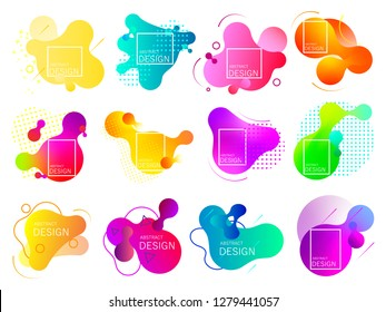 Set of colorful elements, gradient abstract shape for banner. Fluid geometric frame. Vector flat design for business cards, invitations, gift cards, flyers, brochures. Vector illustration EPS10. - Vec