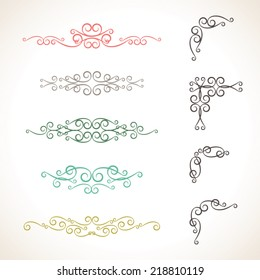 Set of colorful elements and page decoration for design