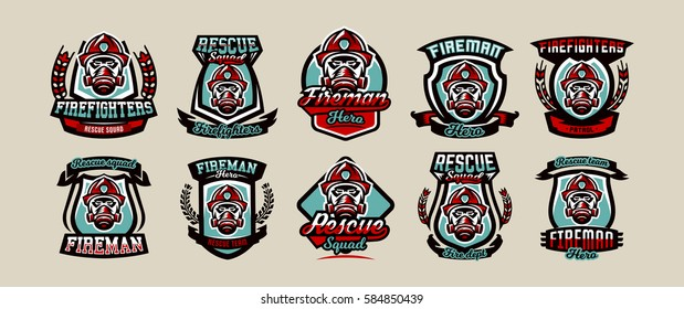 Set of colorful emblems, icons, logos, fire department, firefighter, helmet and mask, vector illustration.