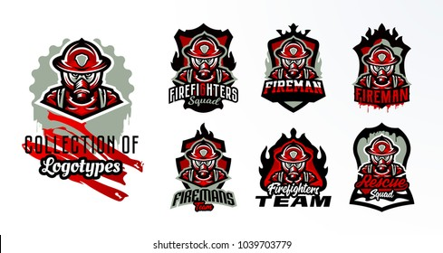 A set of colorful emblems, stickers, badges, logos of a firefighter in a gas mask. Rescue unit, protective equipment, uniform, fire, service, shield, lettering. Vector illustration, stamp on t-shirts