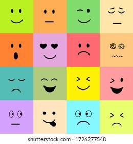 Set of colorful Emoji background.