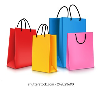 Set of Colorful Empty Shopping Bags Isolated in White. Vector Illustration